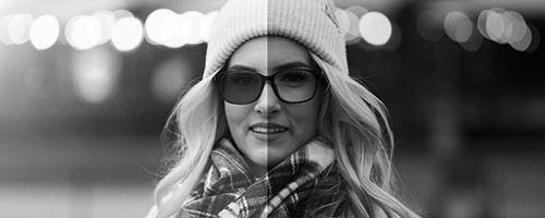 Vertikaltdelt bilde av dame med solbriller/briller